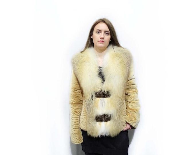Big Fox Collar Fur Jacket,Sheared Gold Fur Jacket