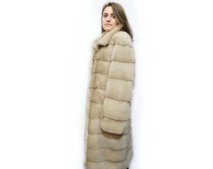 Long Fur Coat,Real Fur Coat,Beige Woman Fur Coat,Winter Fur Coat F234