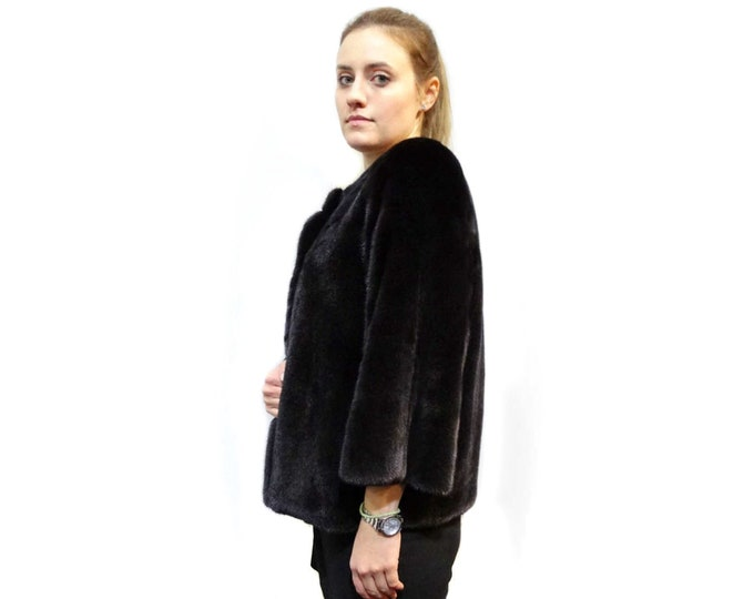 Luxury Anniversary Gift,Prom Bolero,Black Fur Coat F267