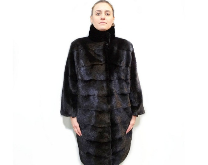Big Collar Fur Coat,Mink Pelt Jacket,Real Mink Fur Coat F487