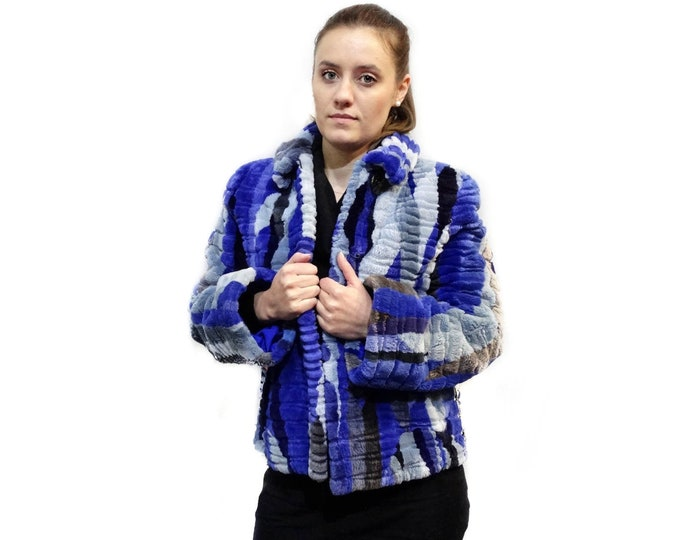 Unique blue beaver fur coat F411