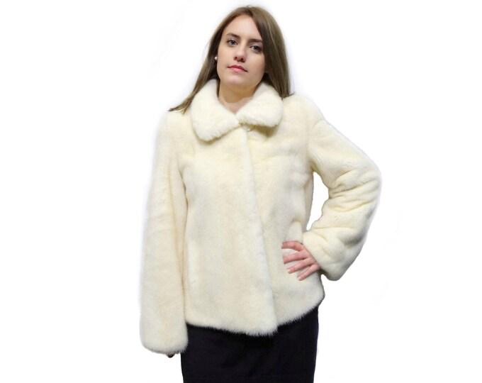 White Fur Coat,Short Fur Coat,Mink Jacket F270