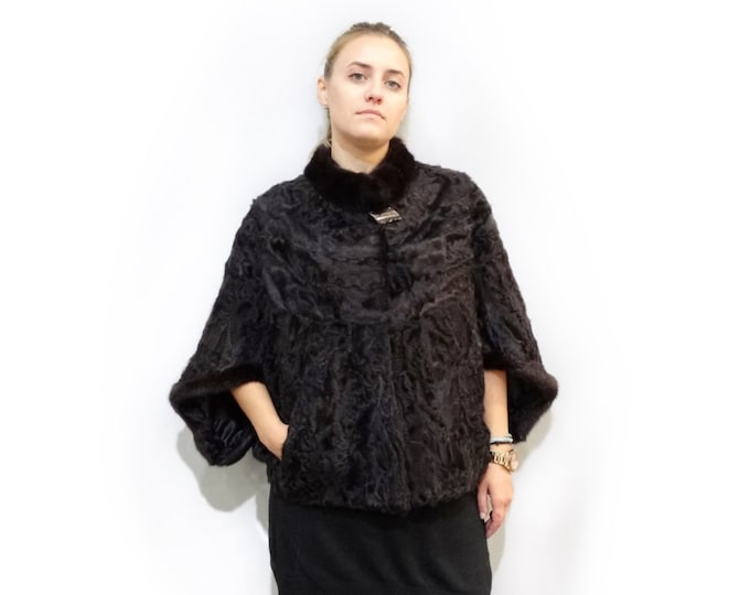 Dark Brown Karakul Fur Poncho,Poncho Coat,Bridal Fur Stole F308