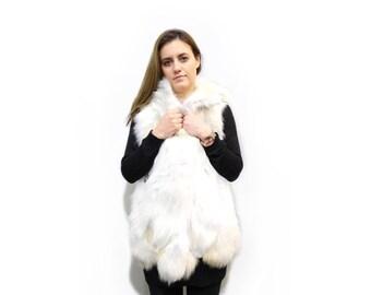 Hooded Fur Vest,Ideal for Leather Jacket F328