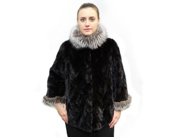 Black Fur Jacket,Short Sleeve Jacket F223