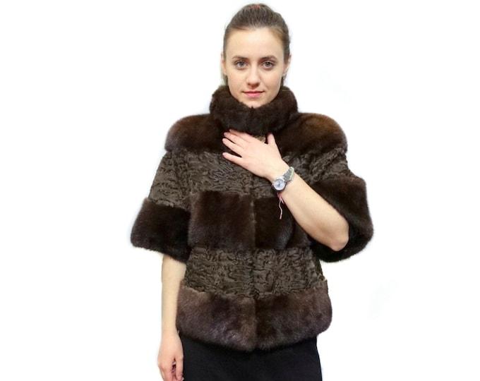 Brown Mink & Swakara Fur,Short Sleeve Jacket F175