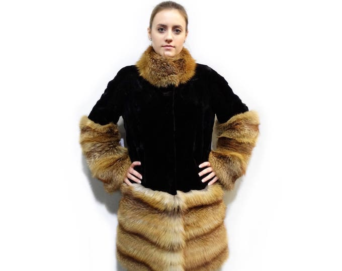 Sheared Mink Fur with Canadian Fox Trim,Fur Coat F291