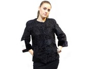 Real Astrakhan Fur with Mink Fur Jacket,Short Sleeve Jacket,Jackie Style,Chanel Style,Real Fur,Fur Jacket,Swakara Fur F424