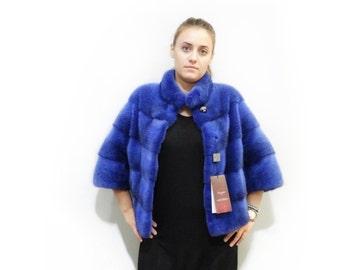 Short Blue Fur Coat,Classy Chanel Style Mink Fur Coat F241