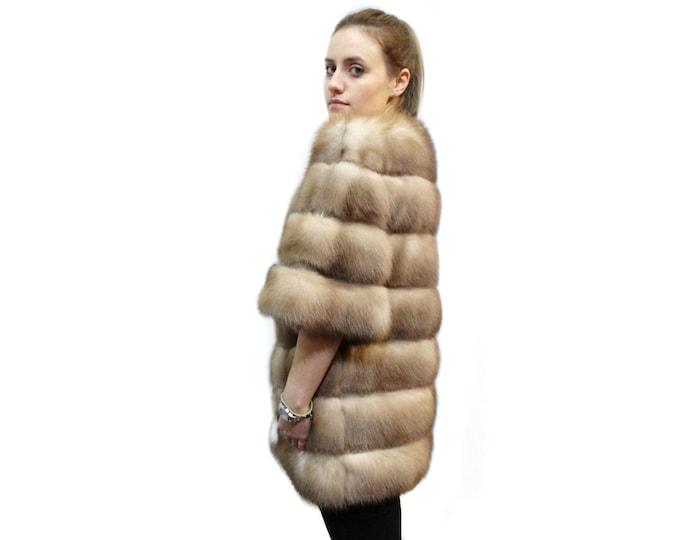 Luxury Marten Jacket,Real Marten Fur Jacket with Leather Stripes F179