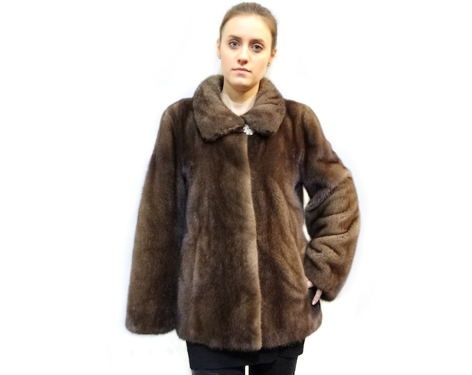 Real Mink Fur Jacket with Leather Cordon and Hood F161