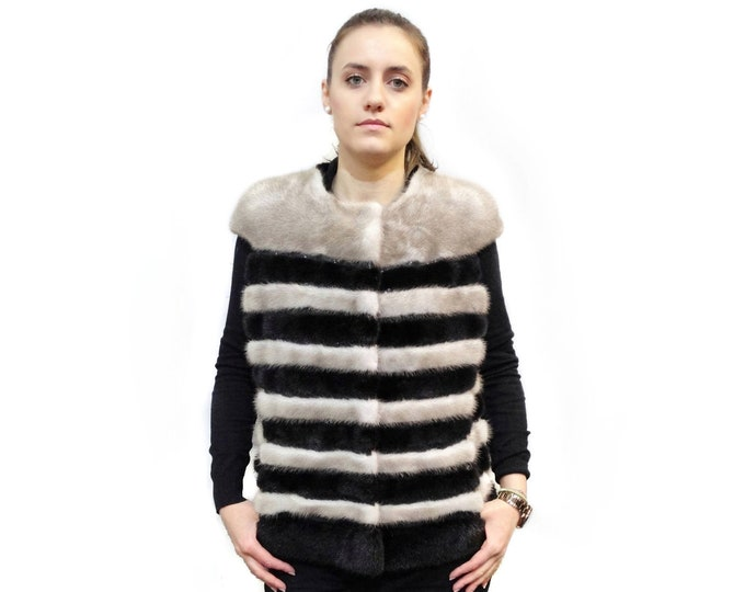 Real Fur Mink with Leather Stripes F390