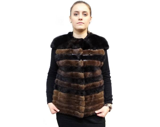 Mink Fur Vest and Leather Stripes, Brown - Black Fur Vest