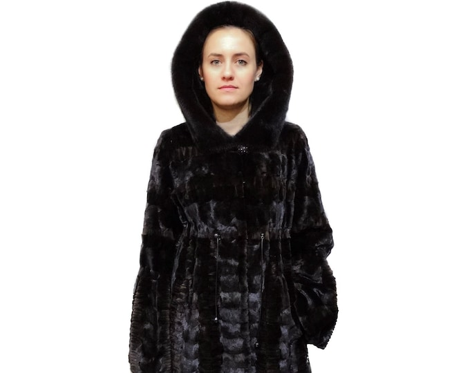 Woman Fur Coat,Real Mink Fur sheared with Hood