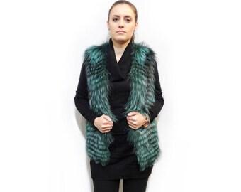 Sleeveless Jacket,Green Fur Vest F383