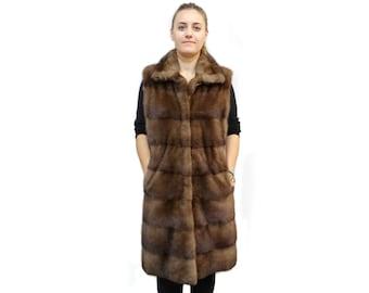 Very Long Fur Vest,Real Mink Vest,Brown Vest F233