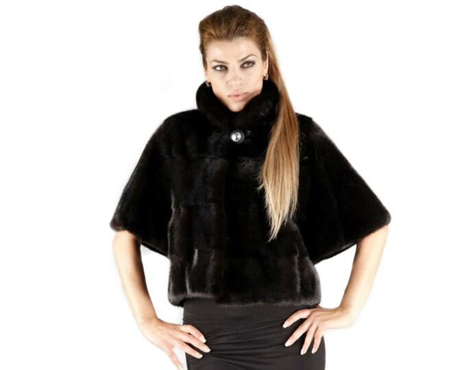Real Mink Fur Quality Black Nafa,Black Fur Bolero F174