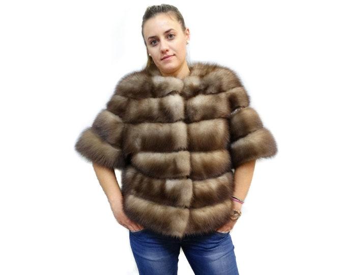 Fabulous Marten Fur Jacket with Leather Stripes, Pastel Beige Fur Jacket F181