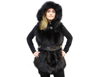 Black Hooded Vest, Fox Fur Vest F373