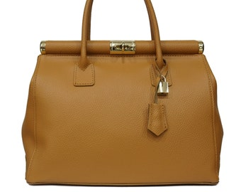 Genuine Leather Bag, Brown Leather Bag With Gold Details F1052