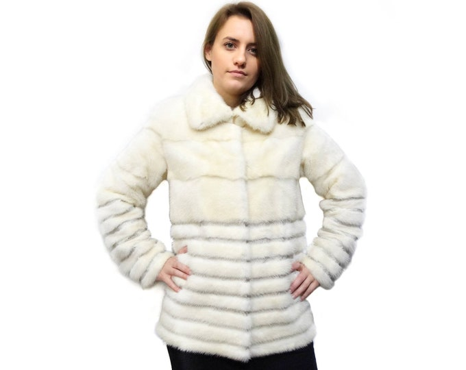 Real Mink Fur Pearl with Leather,Real Fur Jacket F154