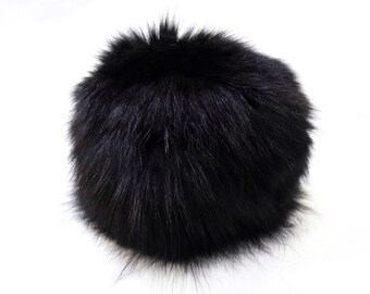 Warm Fox Fur Hat, Black Hat F530