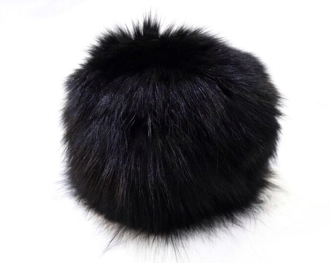 Warm Fox Fur Hat, Black Hat F530