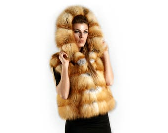 Fox Hooded Vest,Fox Fur Jacket F358