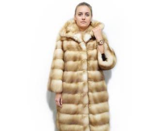 Great Marten Fur Coat with Leather Stripes,Gold Marten Coat F302