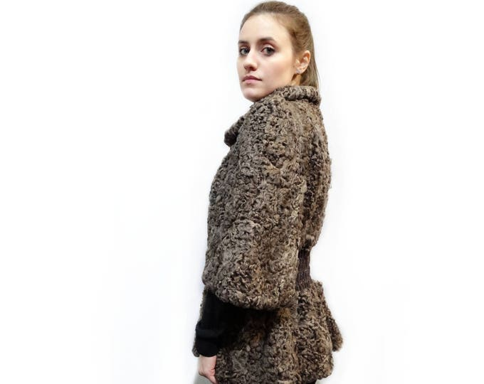 Swakara Fur Jacket with Leather Details,Brown Jacket F159