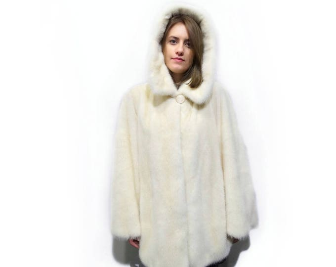Warm Fur Coat,White Fur Coat,Perfect Mom's Gift,Coat with Hood F265