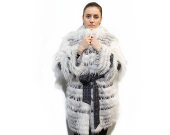 Fox Fur and Fabric Coat,Woman Light Coat F349
