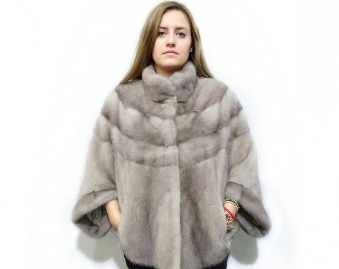 Soft Gray Fur Poncho,Sapphire Bolero F183