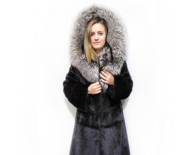 Large Hood,Big Fox Hood,Mink Fur Jacket With Fox Hood F167