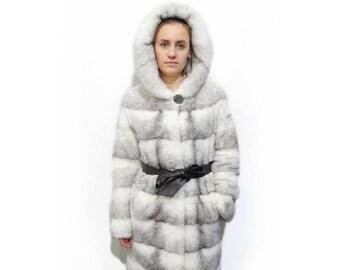 Woman Hooded Fur Coat,Black Cross fur Coat F379