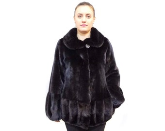Real Mink Fur Coat,Winter Fur Coat,Black Mink Fur Coat F531