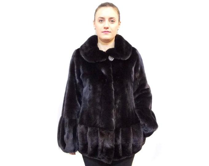 Real Mink Fur Coat,Winter Fur Coat,Black Mink Fur Coat F531