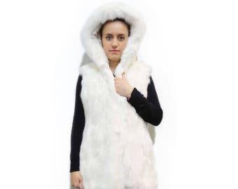 Rex Fur Vest,Hooded White Vest,Teen Fur Vest F214