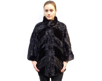 Chic Fur Coat,Black Karakul and Mink Fur Jacket F204