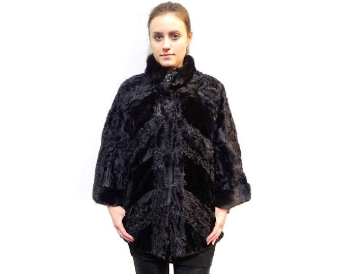 Chic Fur Coat,Black Karakul and Mink Fur Jacket F204