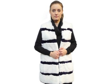Rabbit Fur Vest,Sheared Rabbit White & Purple Vest,Long Fur Vest F182