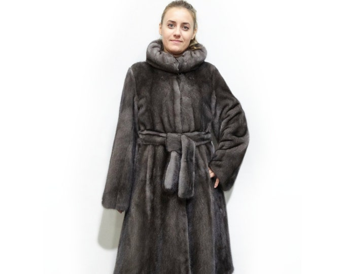 Luxury Mink Fur Coat,Long Hooded Grey Coat F319