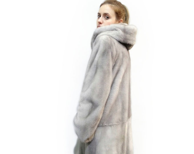 Big Long Fur Coat,Gray Coat with Hood F283