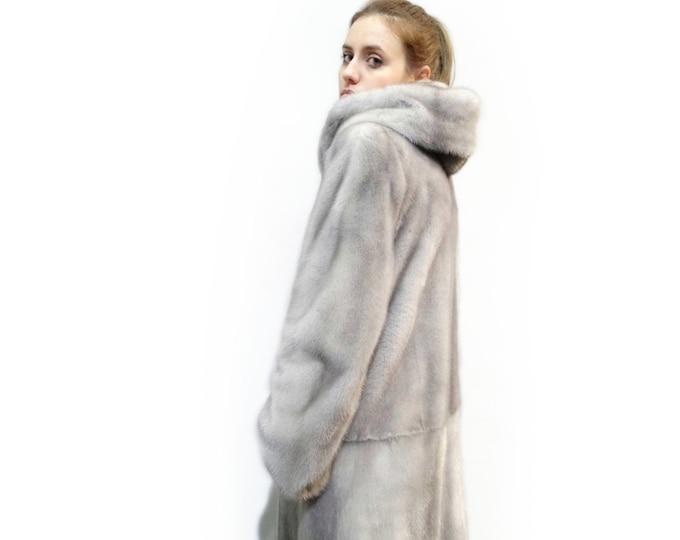 Big Long Fur Coat,Gray Coat with Hood F283