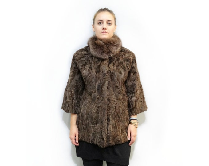 Special Brown Fur Coat,Plus size jacket,Persian Lambskin Jacket F310