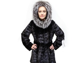 Black Mink Fur Sheared Coat with Fox Trim Hood,Woman Fur Coat F198