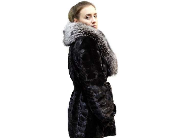 Mink Fur sheared with Big Fox Collar