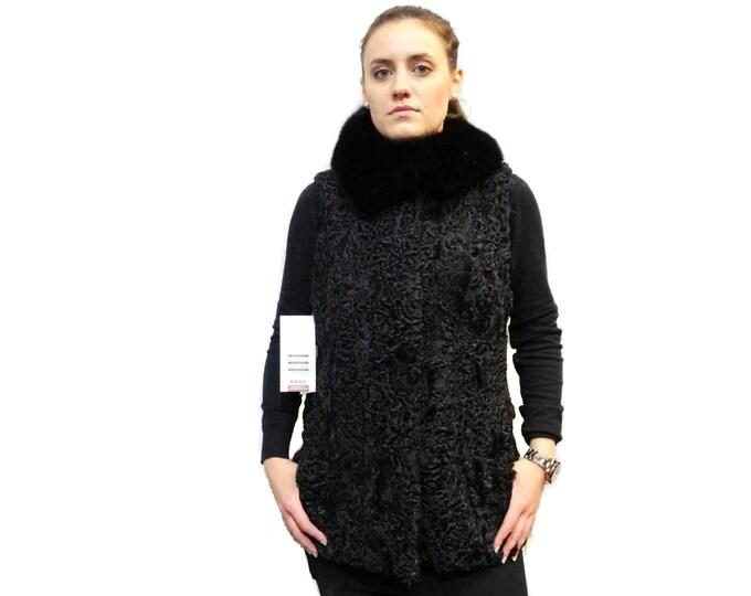 Real Fur Astrakhan-Karakul with Fox Collar Vest F230