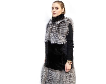Long Fur Vest,Real Fur Fox and Mink Vest,Silver Fox Vest F205