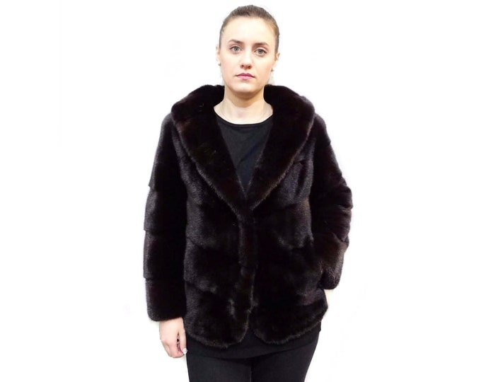 Special Burgundy Fur Jacket,Luxury Anniversary Gift F529